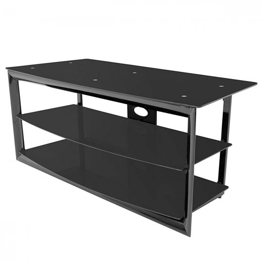 Techcraft MC4832B Glass on Metal Television Stand BLACK