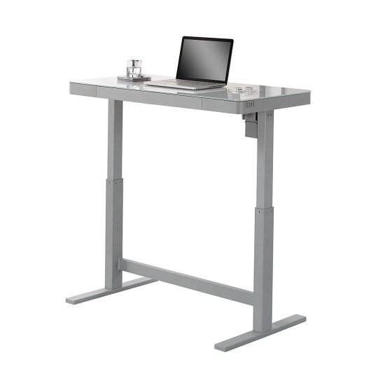 Bell'O VARIODESKW Electric Adjustable Standing Desk WHITE GLASS