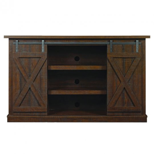 Bell'O COTTONWOOD 60-Inch Barn-Door Style TV Stand (No Tools) ESPRESSO